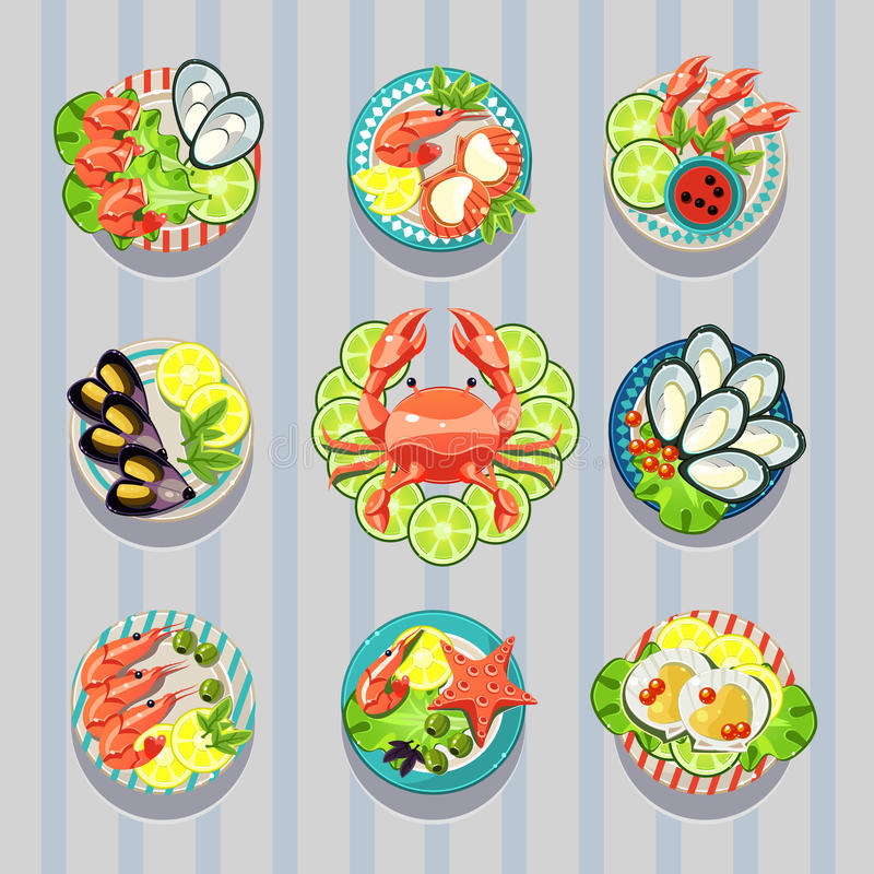 Mariscos del negocio de la comida de los elementos de Infographic stock de ilustración