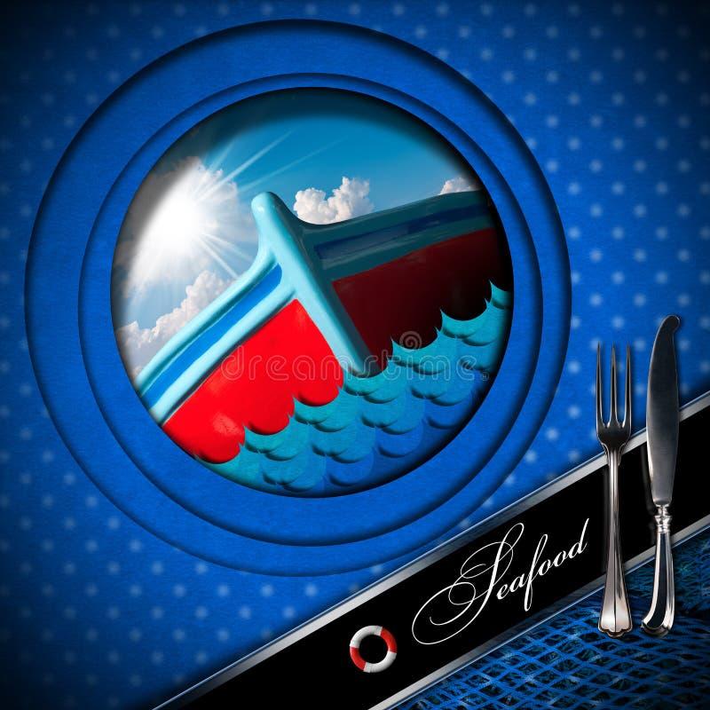 Mariscos - diseño del menú - barco de pesca stock de ilustración
