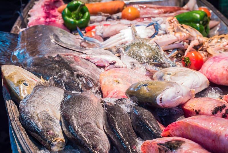 Mariscos en el hielo en el mercado de pescados imagen de archivo libre de regalías