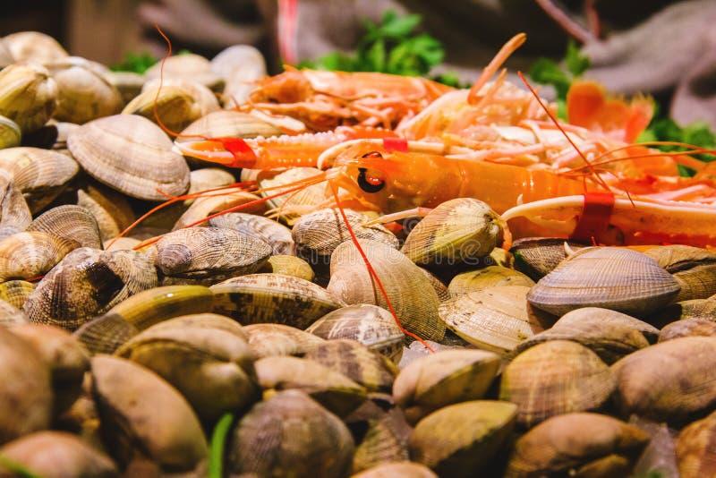 Mariscos en el hielo en el mercado de pescados en Barcelona España fotografía de archivo libre de regalías