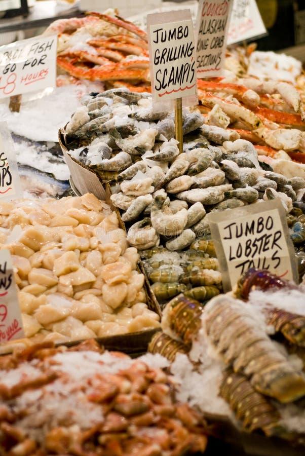 Mariscos en el mercado de lugar de Pike fotografía de archivo