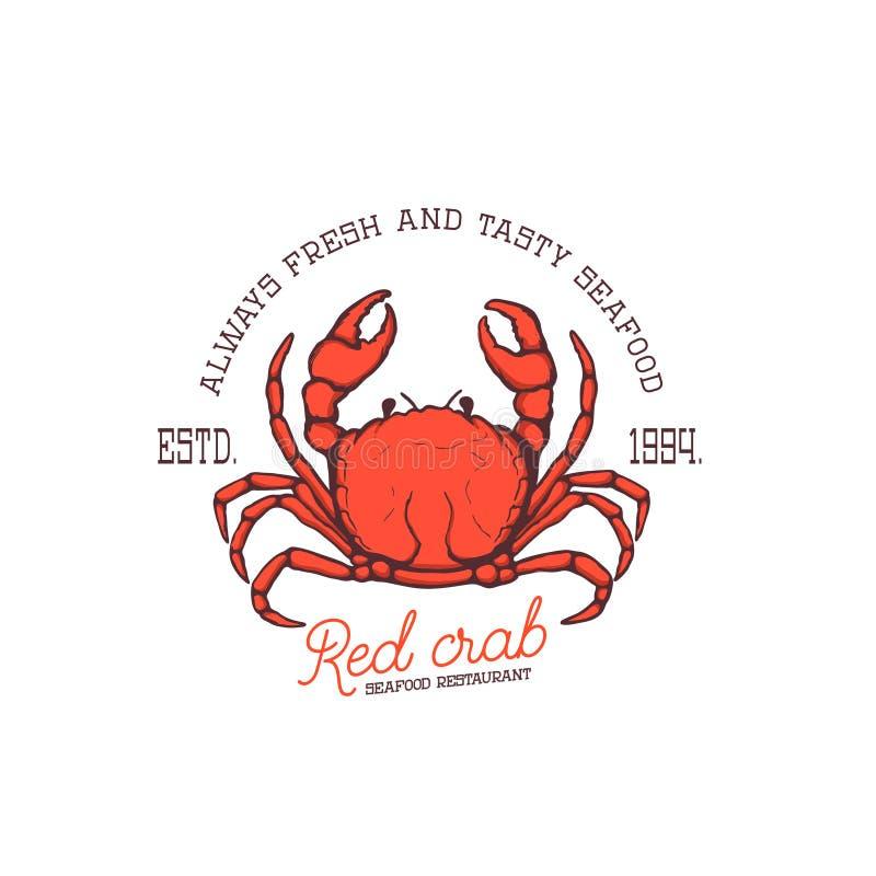 Mariscos frescos Restaurante rojo de los mariscos del cangrejo stock de ilustración