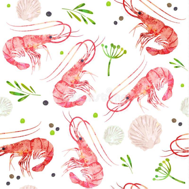 Mariscos inconsútiles del modelo Camarones, cáscaras y ejemplo picante de la acuarela de las hierbas ilustración del vector