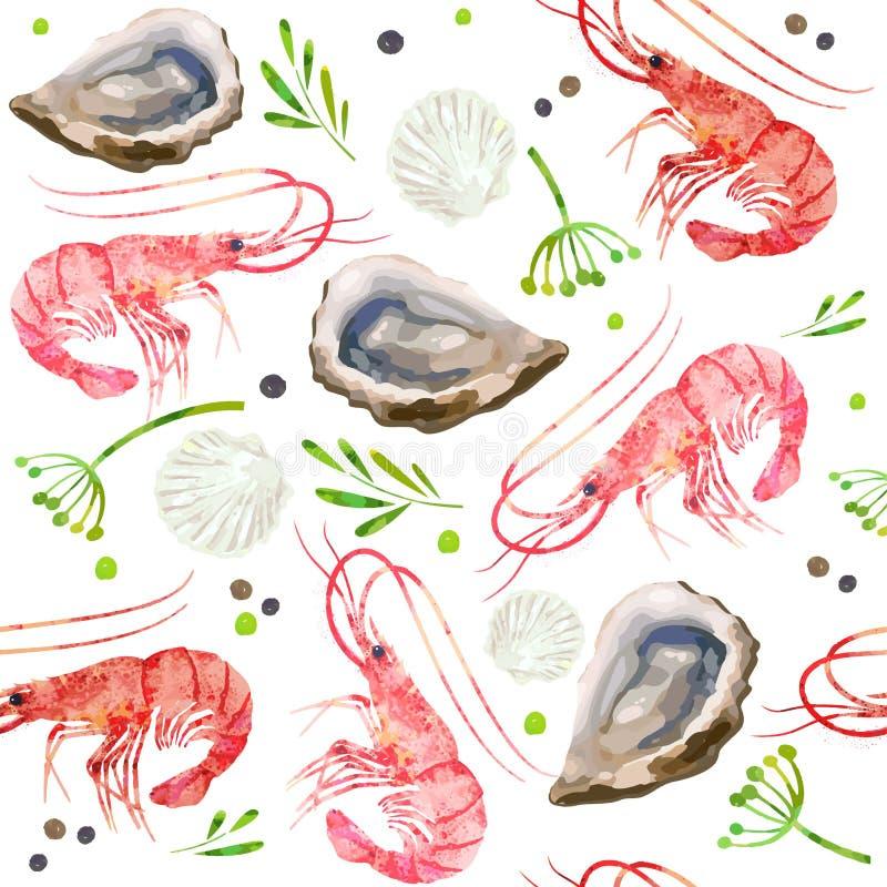 Mariscos inconsútiles del modelo Camarones rojos, cáscaras, ostras y ejemplo picante de la acuarela de las hierbas ilustración del vector