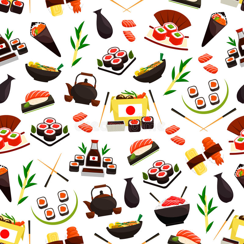 Mariscos japoneses de la cocina, modelo inconsútil del sushi ilustración del vector