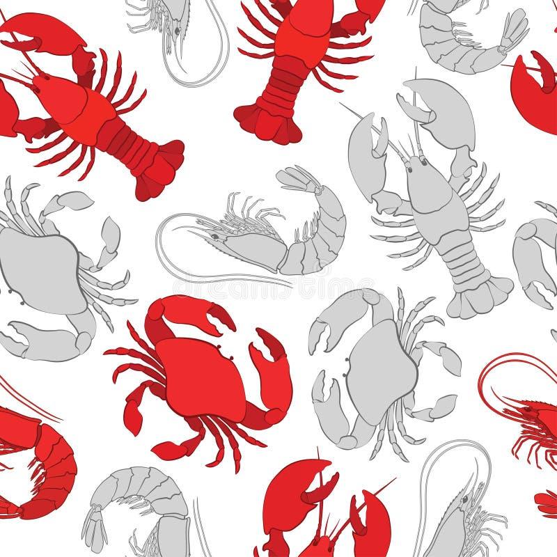 Mariscos Langosta, cangrejo y gamba ilustración del vector