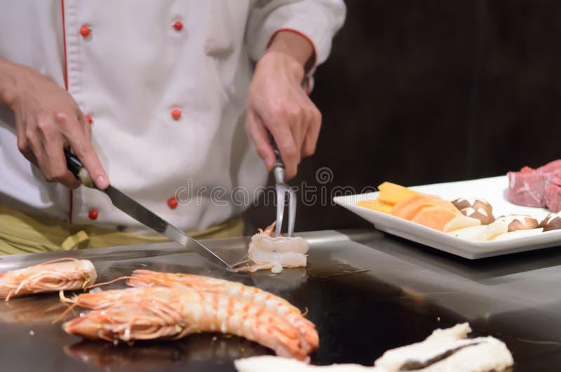 Mariscos salteados de la cocina japonesa de Teppanyaki imágenes de archivo libres de regalías