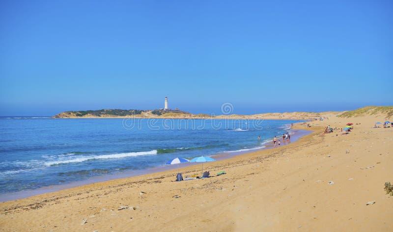 Marisucia海滩的全景 Los Canos de Meca,有须,卡迪士,安大路西亚,西班牙 库存照片