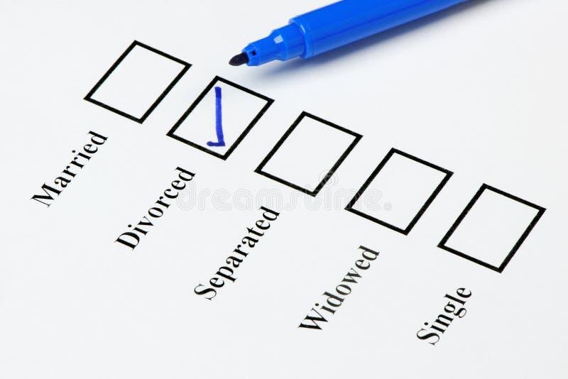 Marital Status Check List. Divorced. Tick-boxes showing marital status on a blank form. Divorced ticked stock images