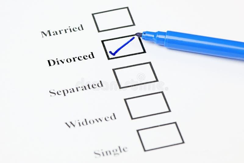 Marital Status Check List. Divorced. Tick-boxes showing marital status on a blank form. Divorced ticked royalty free stock photos