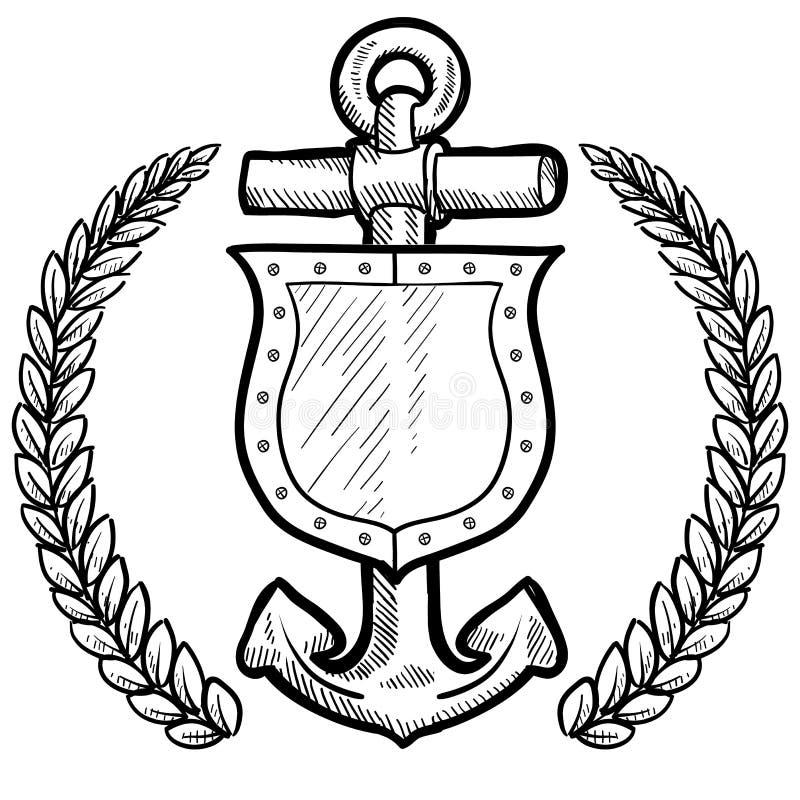 Maritiem veiligheid of veiligheidsschild royalty-vrije illustratie