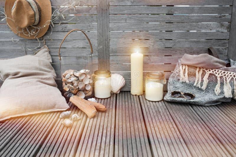 Maritieme decoratie op hout royalty-vrije stock afbeelding