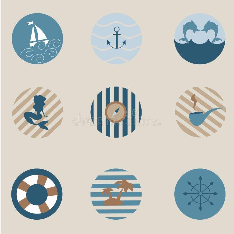 Maritieme pictogrammen stock illustratie