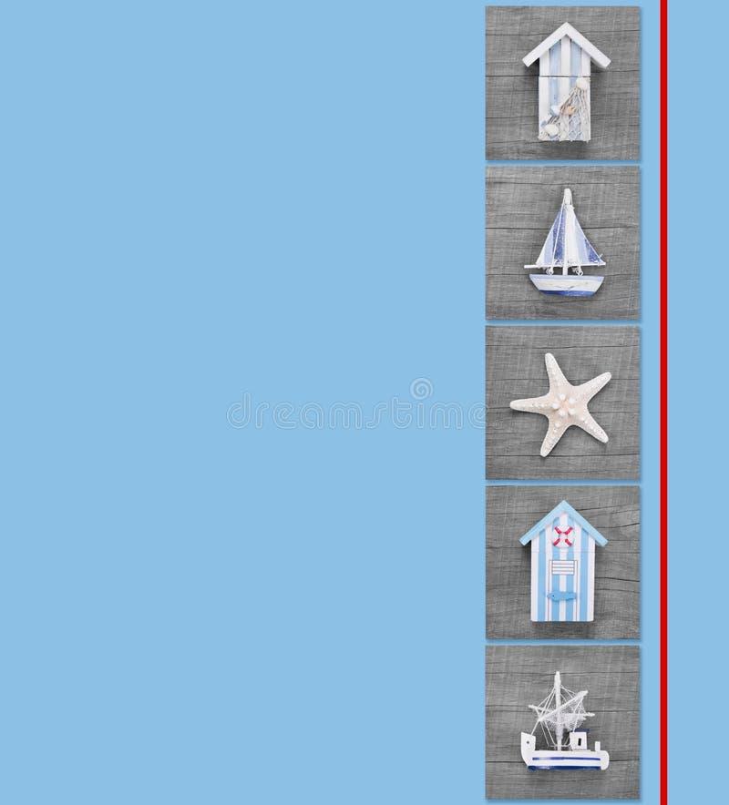 Maritim collage av den strandkojor, segelbåtar och sjöstjärnan för postc arkivbild