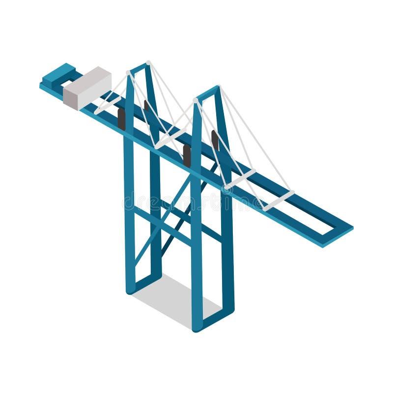 Maritim inlands- isolerad vektor för behållareterminal stock illustrationer