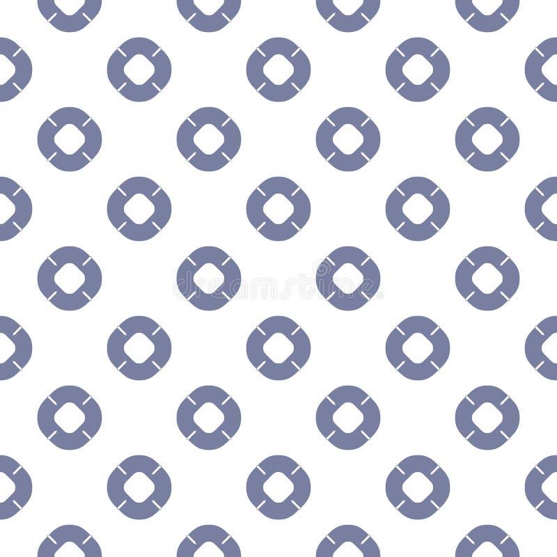 Maritim sömlös modell för vektor med badcirkelsymboler i blått- och vitfärger vektor illustrationer