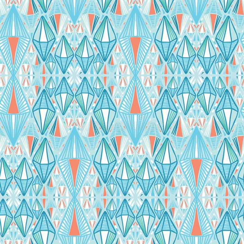 Maritima blåa geometriska diamantformer S?ml?s bakgrund f?r vektormodell Utdragen abstrakt etnisk geoillustration för hand moderi royaltyfri illustrationer