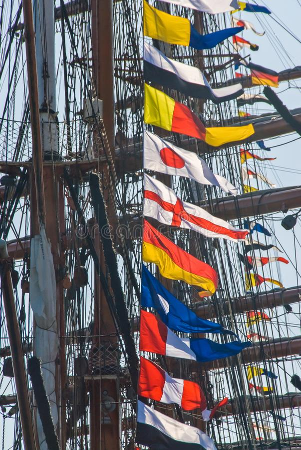 Maritime colorful signal flags. Maritime signal flags on ship mast in hamburg Hafen-Geburtstag stock photo