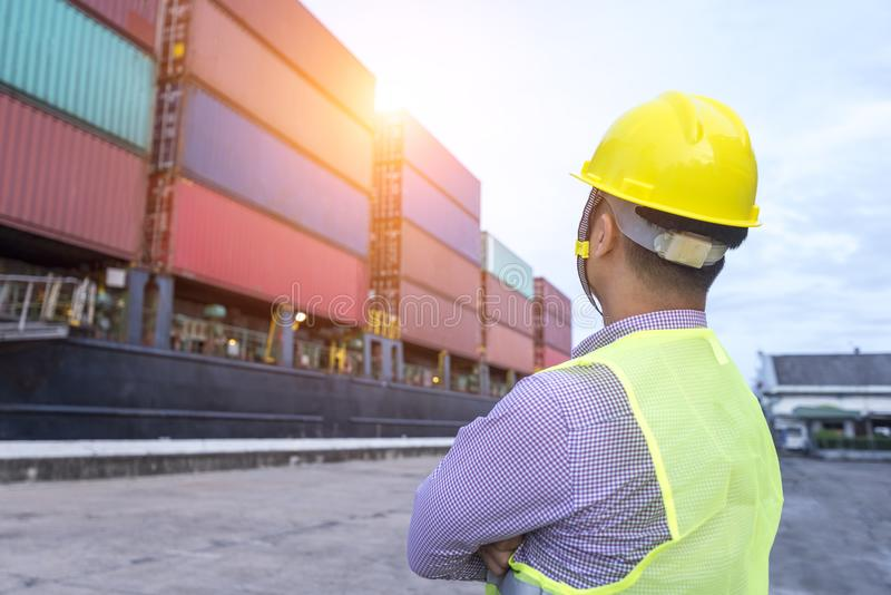 Maritime Engineering looking at container royalty free stock photo