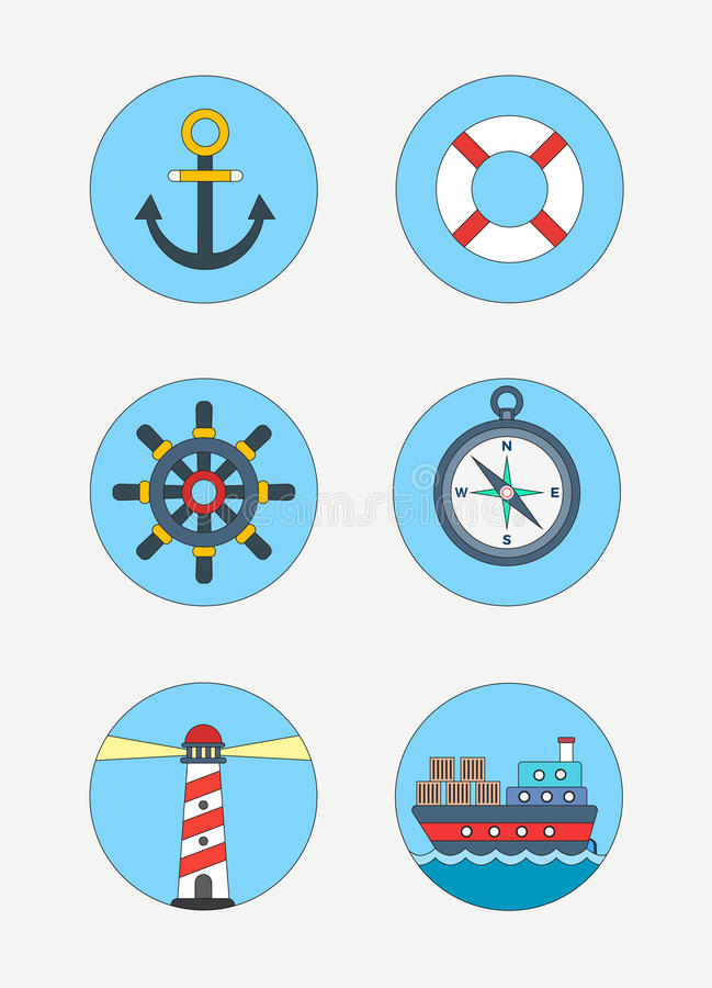 Maritime icons royalty free stock photos