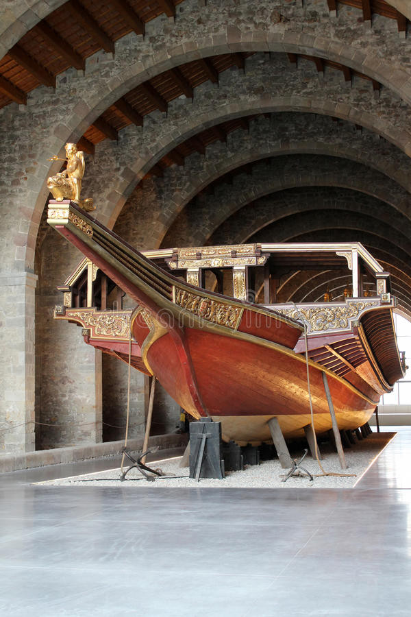 Maritime Museum - Barcelona. A replica galley on display at the Maritime Museum (Museu Maritim) in Barcelona, Spain royalty free stock photography