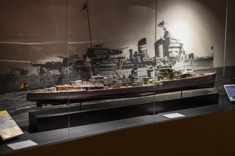 Maritime Museum in Madrid history of the Spanish Navy ship models historical artifacts. MADRID, SPAIN - 28 MARCH, 2018: Maritime Museum in Madrid history of the royalty free stock image