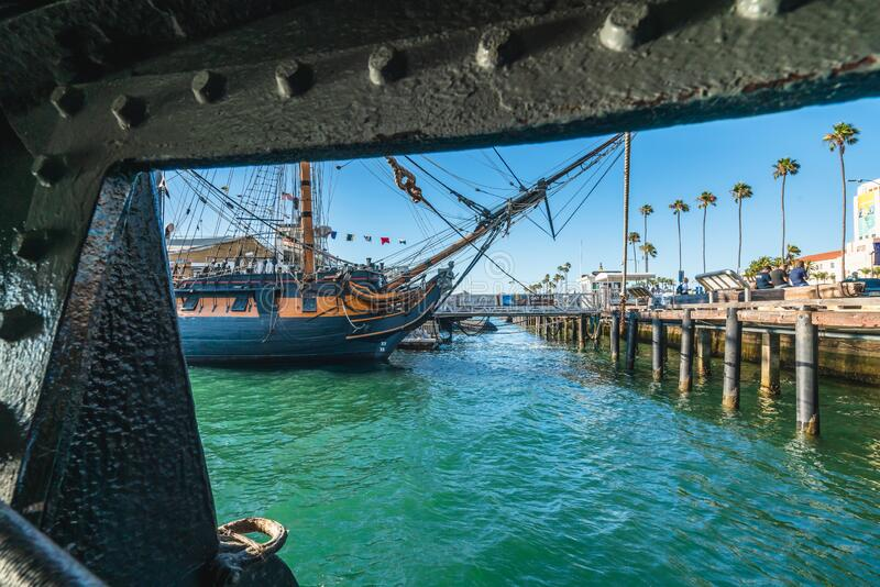 The Maritime Museum of San Diego with one of the largest collections of historic sea vessels in the United States. San Diego, California/USA - August 14, 2019 royalty free stock photos