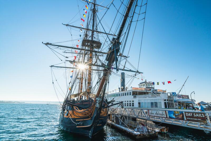 The Maritime Museum of San Diego with one of the largest collections of historic sea vessels in the United States. San Diego, California/USA - August 14, 2019 royalty free stock photography