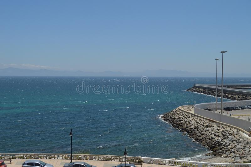 Maritime Port With Views Of Africa At Tariff Background. Nature, Architecture, History, Street Photography. July 10, 2014. Tarifa. Cadiz, Spain royalty free stock images