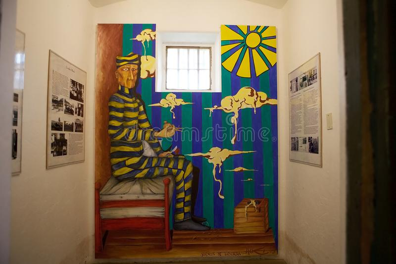 Maritime, Prison and Antarctic Museum in Ushuaia, Argentina. Mural in the prison cell at the Museo Maritimo y del Presidio de Ushuaia, Argentina. Maritime stock images