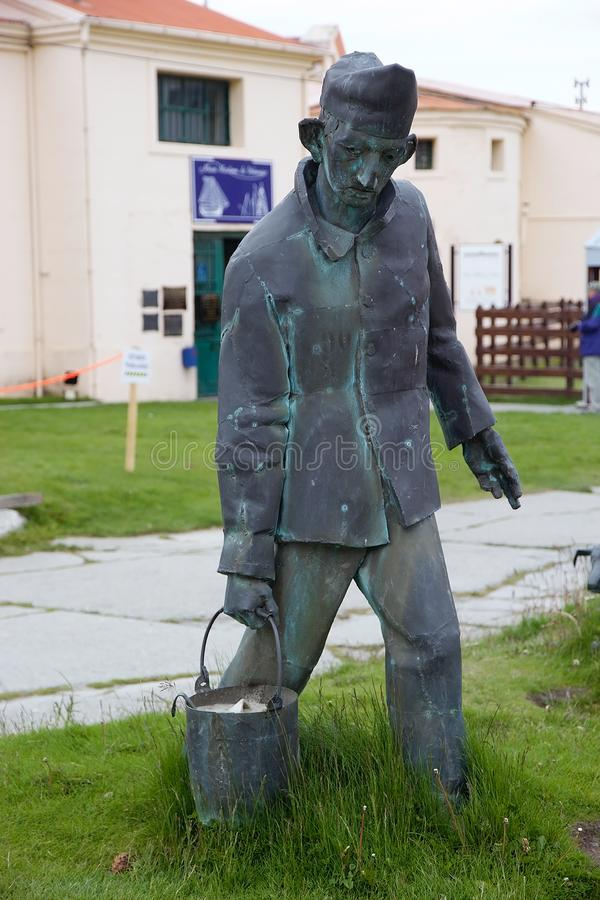 Maritime, Prison and Antarctic Museum in Ushuaia, Argentina. Prisoner statue at Museo Maritimo y del Presidio de Ushuaia, Argentina. Maritime, Prison and royalty free stock images