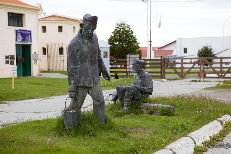 Maritime, Prison and Antarctic Museum in Ushuaia, Argentina. Prisoners statue at the Museo Maritimo y del Presidio de Ushuaia, Argentina. Maritime, Prison and royalty free stock image