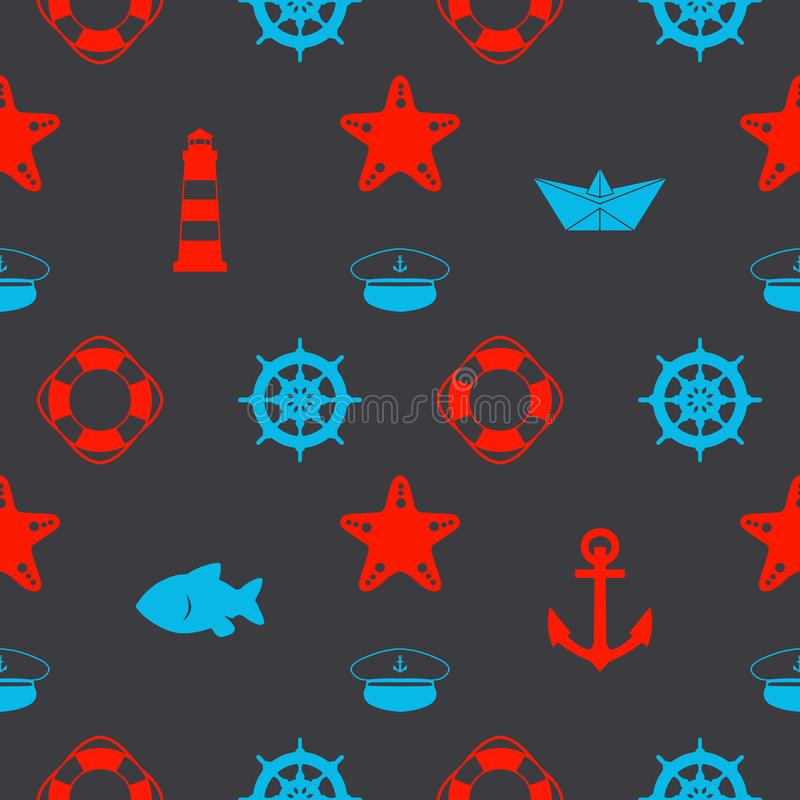 Maritime seamless pattern with red and blue nautical icons like paper ships, sailor hat, anchors and starfish on dark black backgr royalty free illustration