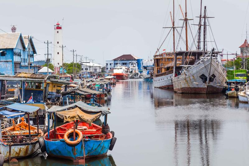 Maritime in Semarang Indonesia. Old harbor with lighthouse in Semarang Indonesia stock images