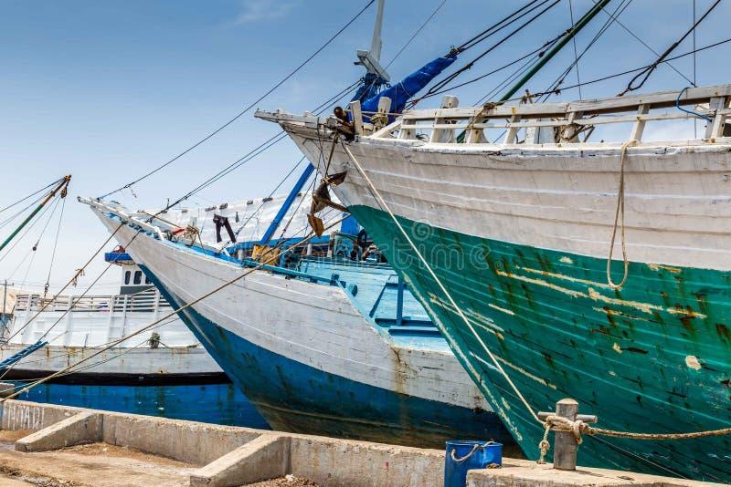 Maritime in Semarang Indonesia. Old ships in the old Dutch harbor in Semarang Indonesia royalty free stock image