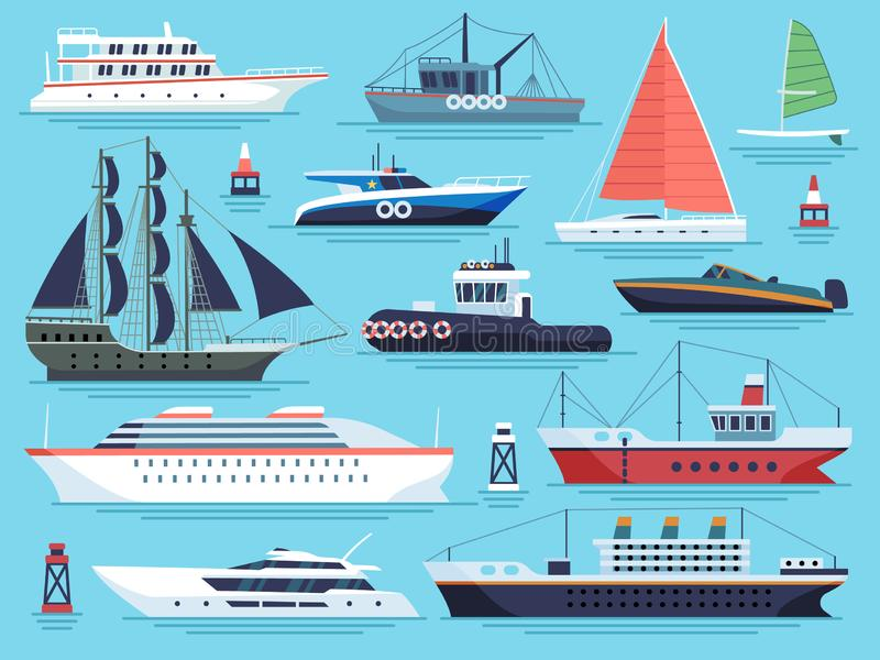 Maritime ships flat. Water carriage, vessels boats yacht ship battleship warship large vessel. Sea cargo dock vector set. Maritime ships flat. Water carriage vector illustration