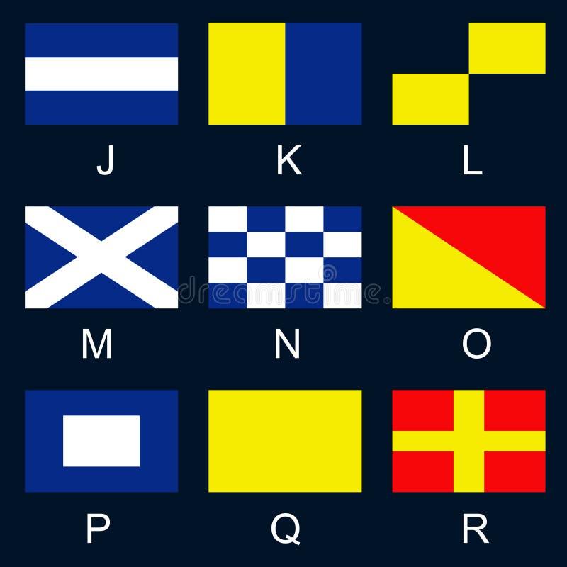 Maritime signal flags J-R stock image