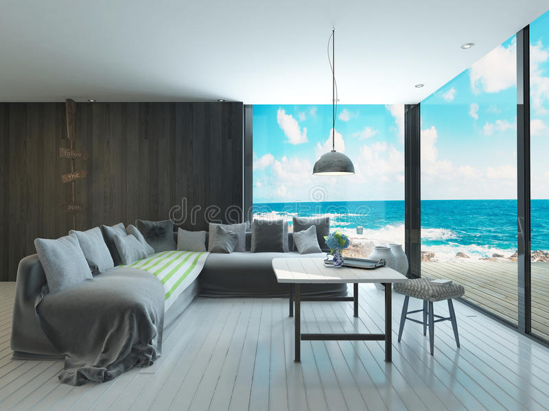 Maritime style living room interior with cozy couch and sea view stock illustration