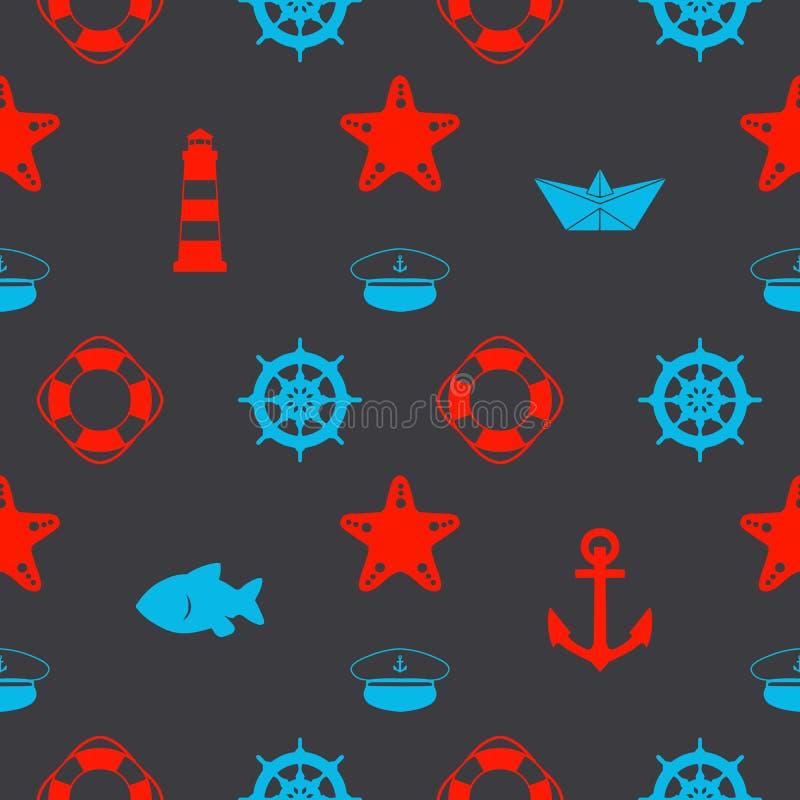 Maritimes nahtloses Muster mit den roten und blauen Seeikonen wie Papierschiffen, Seemannhut, Ankern und Starfish auf dunklem sch lizenzfreie abbildung