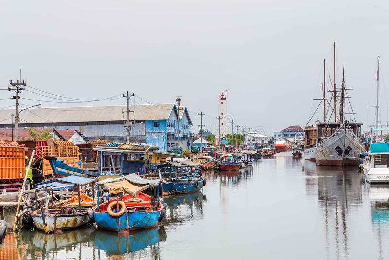 Maritimt i Semarang Indonesien arkivbild