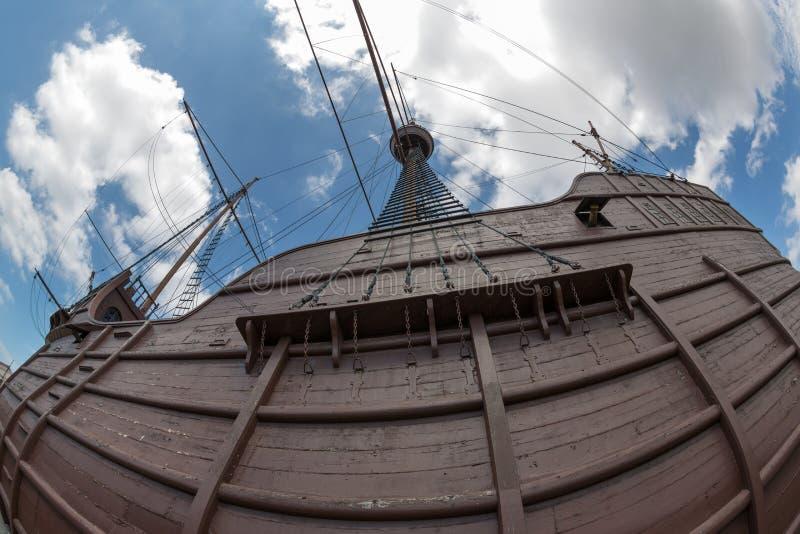 Maritimt museum i form av en skepp fotograferad fisheye royaltyfri fotografi
