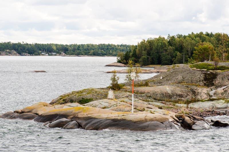 Maritimt undertecknar in den Aland skärgården royaltyfri fotografi