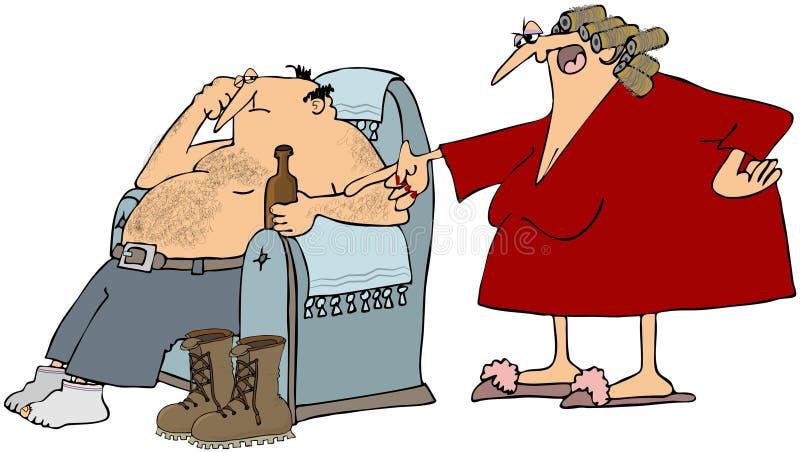 Marito con la moglie fastidiosa illustrazione di stock