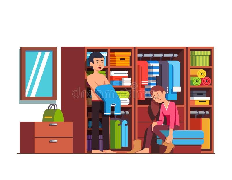 Marito e moglie che si vestono a casa guardaroba illustrazione di stock