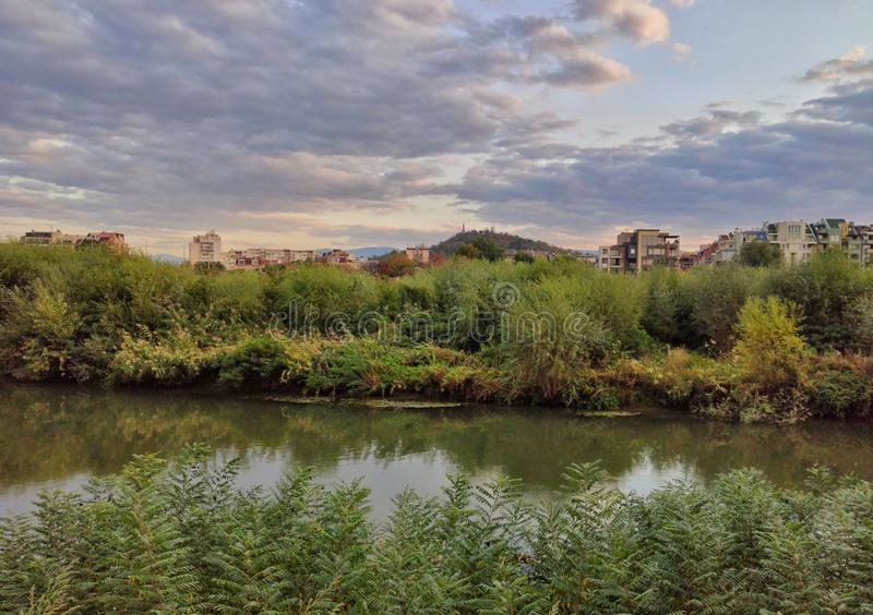 Maritsa River, Plovdiv, Bulgarien royaltyfri foto