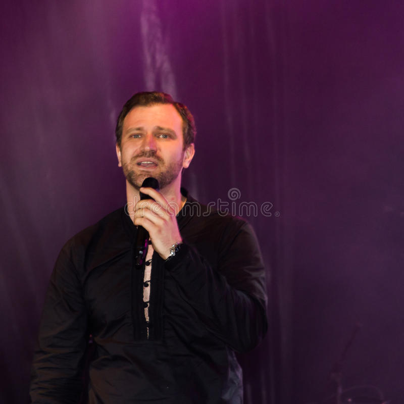 Marius Marin. Singing at Loredana Groza concert organized by District 3, Bucharest royalty free stock images