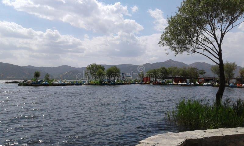 Wallpapers & Screensavers Set: Beautiful Mountain Lake stock image