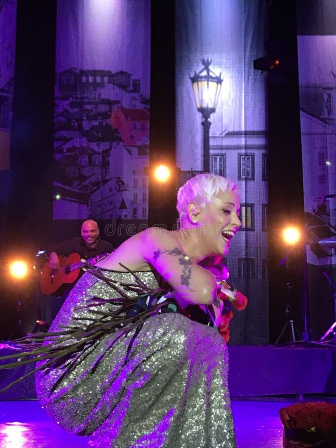 Mariza -在一个巨大生活音乐会以后 免版税库存图片