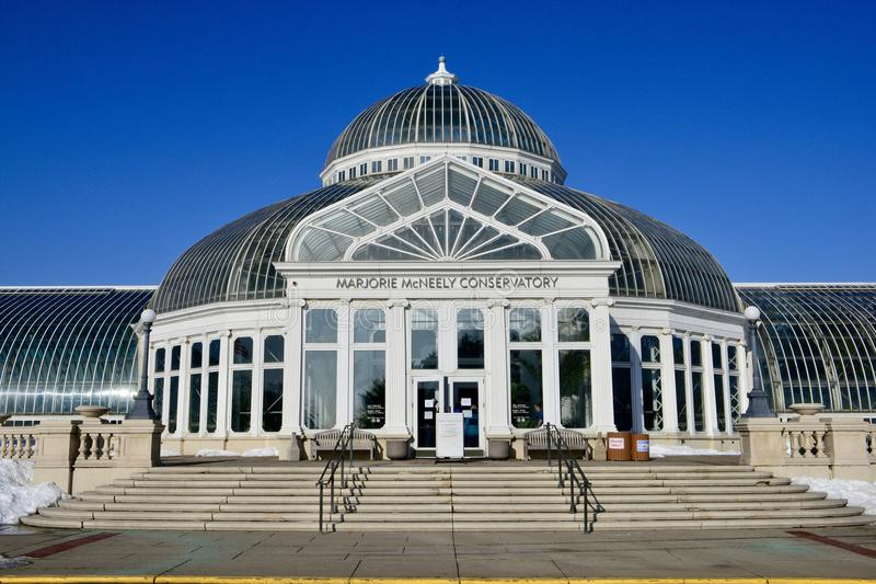 Marjorie McNeely Conservatory. This is a Winter picture of the Marjorie McNeely Conservatory in Como Park located in St. Paul, Minnesota in Ramsey County. This stock image