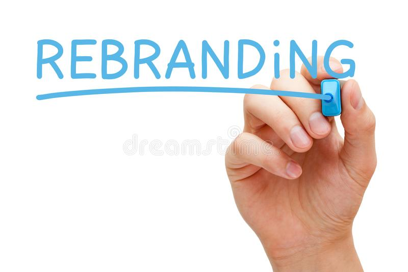 Markör för Rebranding handblått royaltyfria foton
